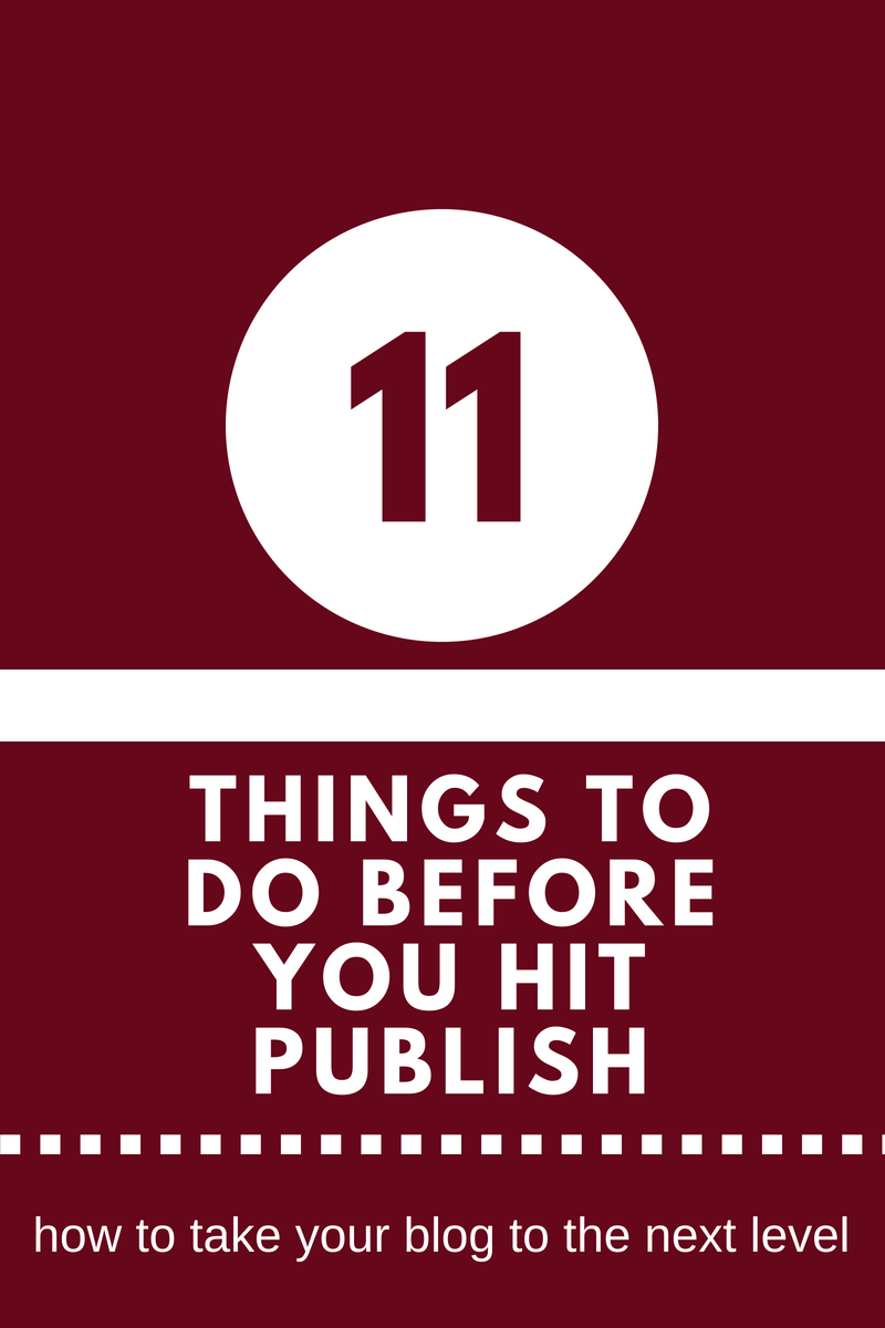 11 things to do before publishing
