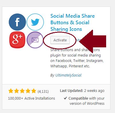 activate wordpress plugin button