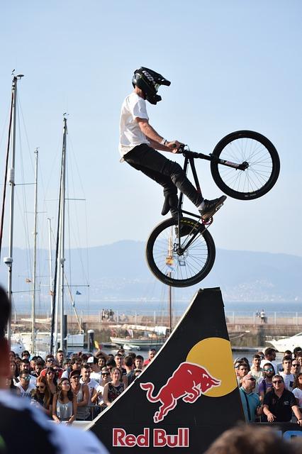 red bull bmx biker on ramp