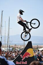 red bull bmx biker on ramp