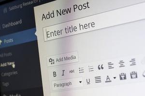 wordpress screenshot creating new post